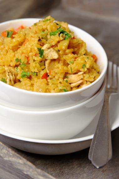 Recept 'kruidige rijstschotel met kip'