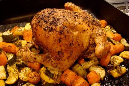 Mediterraanse, krokante, hele kip, ovenschotel recept