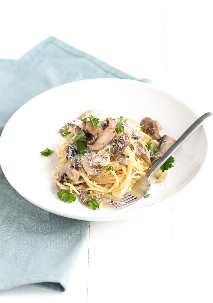 Fresh & easy: spaghetti met paddenstoelen roomsaus