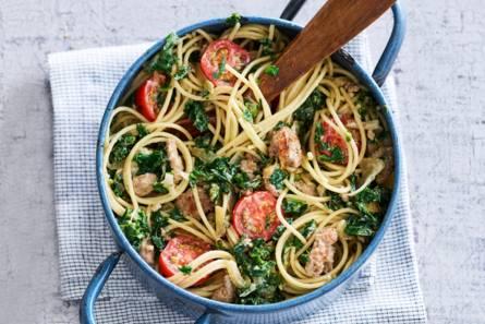 Spaghetti met boerenkool en worst