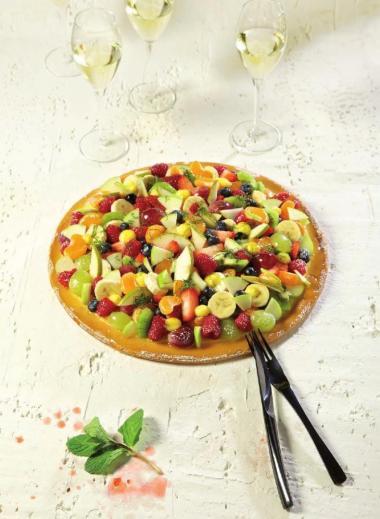 Recept 'pizza tutti frutti met zoet fruit'