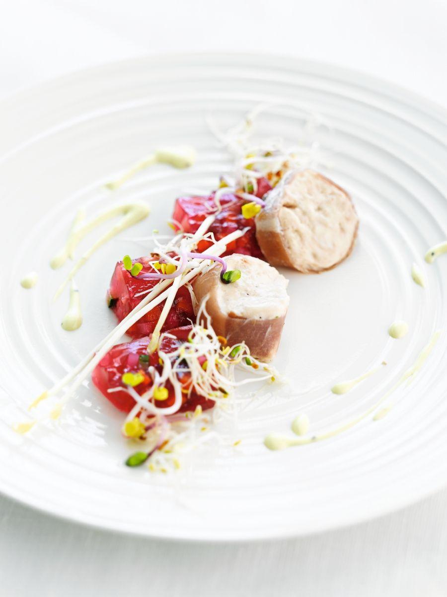Recept 'mousse van gedroogde ham met gelei van groenten'