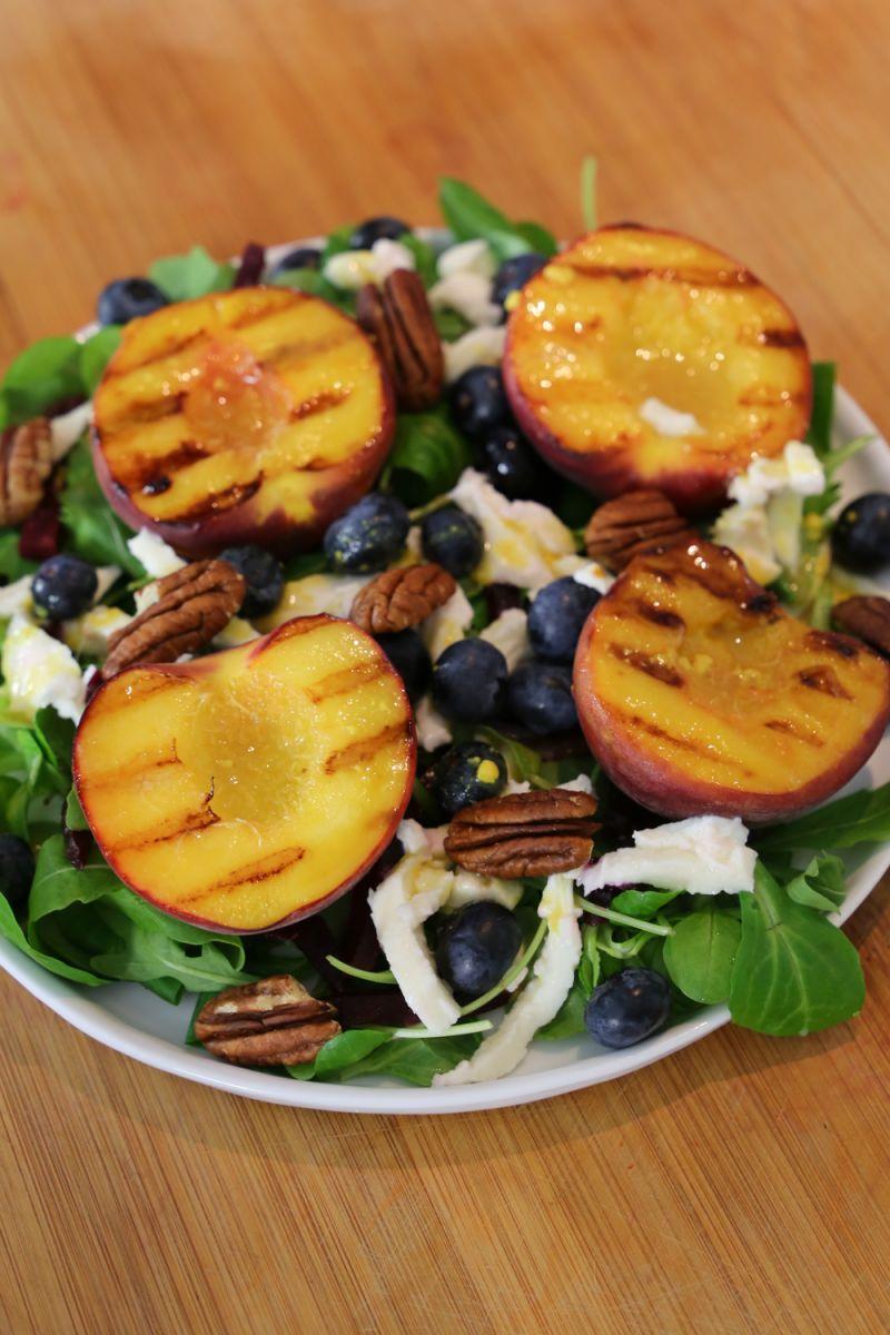 Recept 'salade met gegrilde perziken '