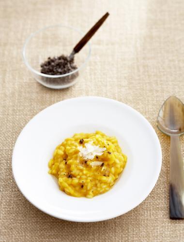 Recept 'risotto met pompoen, vanillezout en notenolie'
