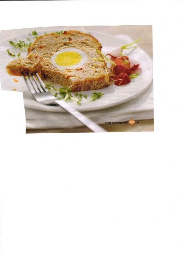 Gevuld gehaktbrood met ei en spek recept