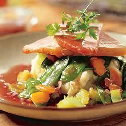 Beenham met portsaus en gekonfijte groenten recept