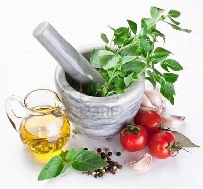 Olijfolie met verse basilicum en knoflook recept