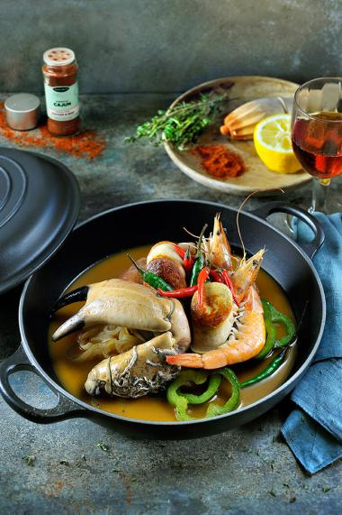 Recept 'gumbo met reuzengarnalen, krab en witte pens'