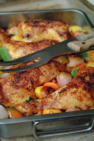 Recept 'lekker geroosterde kip met groenten'