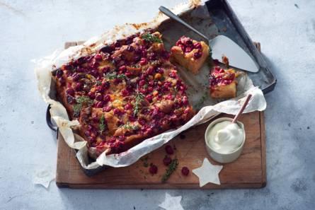 Plaattaart met appel en cranberry's