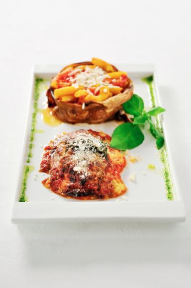 Recept 'rigatoni met aubergine en worst'