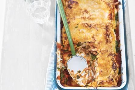 Easy lasagne met gerookte kip