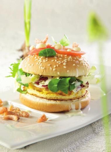 Recept 'njamburger met garnaaltjes'
