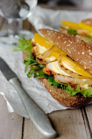 Recept 'broodje kip met mango'