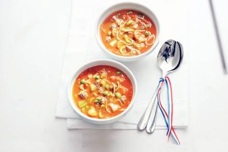 Gevulde tomaten-groentesoep