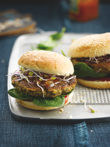 Recept 'champignonburger met noten'