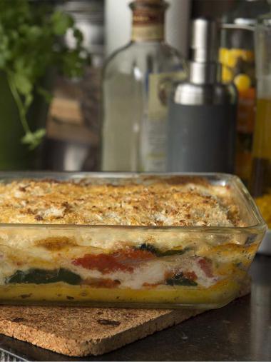 Recept 'lasagne van vlaswijting, tomaat en spinazie'