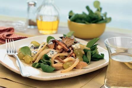 Paddestoelensalade met druiven en blauwaderkaas