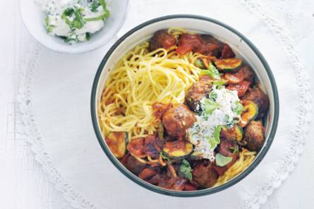 Supersnelle spaghetti met runderballetjes