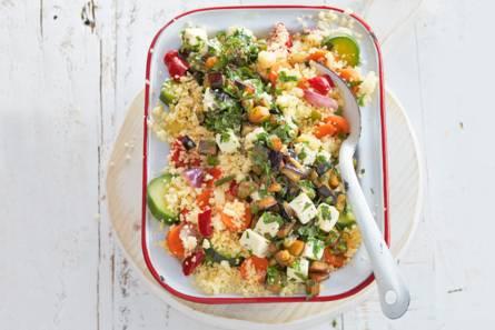 Couscous met gemarineerde aubergine