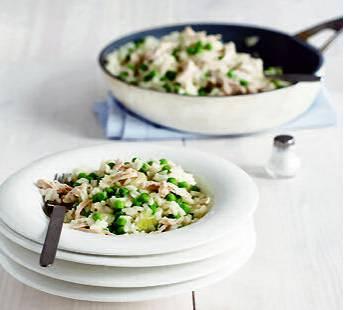 Risotto met kip en doperwtjes recept
