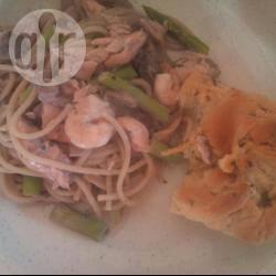 Zalm en garnalen spaghetti schotel recept