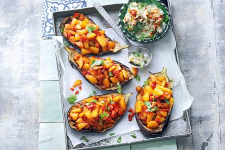 Aubergine met batata harra (pittige aardappel)