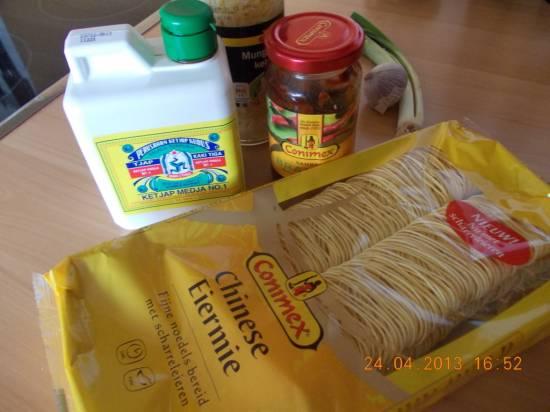 Mie of mihoen met grote garnalen en groenten recept