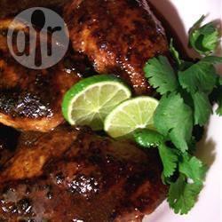 Pittig-zoete kip met gember en limoen recept