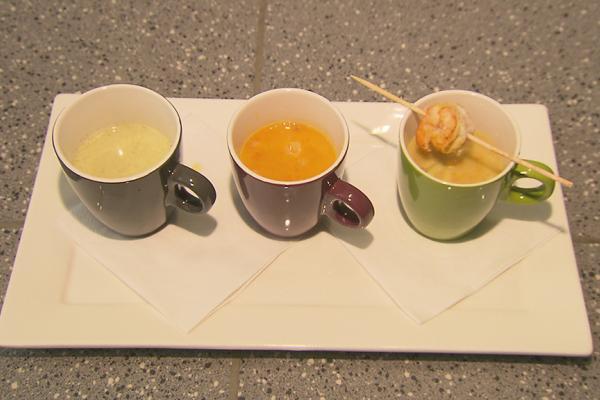 Pompoensoep, komkommersoep en curry-preisoep
