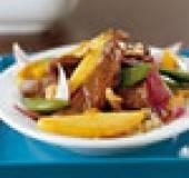 Baklapjes met mango en oestersaus recept
