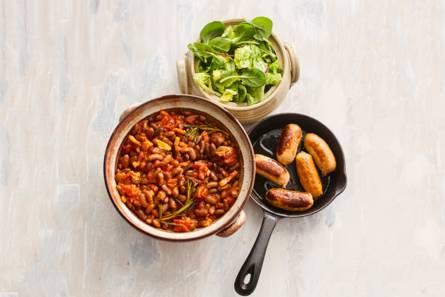 Bruine bonen met spek in tomatensaus