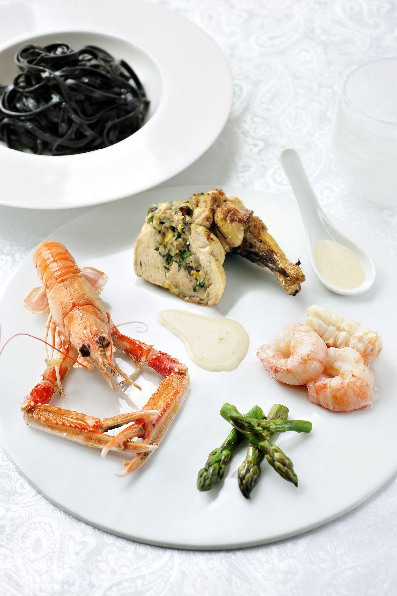 Recept 'parelhoen met nieroogkreeftjes, manzanilla en ...