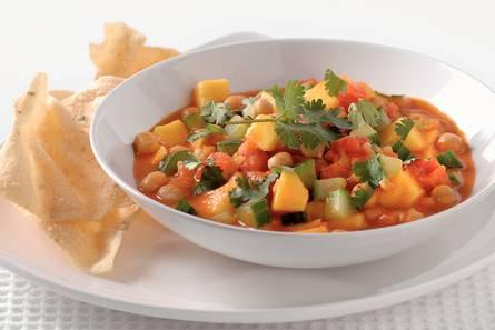Indiase curry met kikkererwten en mango