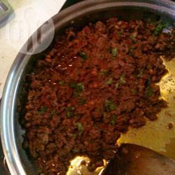Gehakt met black eyed peas (zwarte ogen bonen) recept