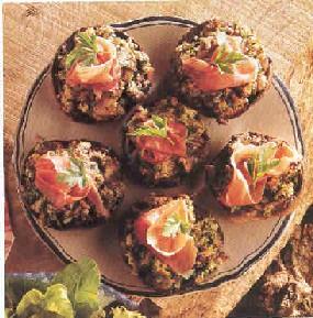 Portobello's met knoflook, kruiden en prosciutto recept