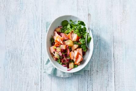 Aardappelsalade met bietjes en zalm