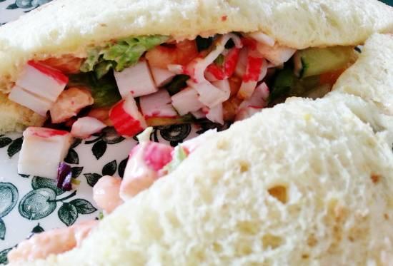 Summer-sandwich krab/garnaal recept