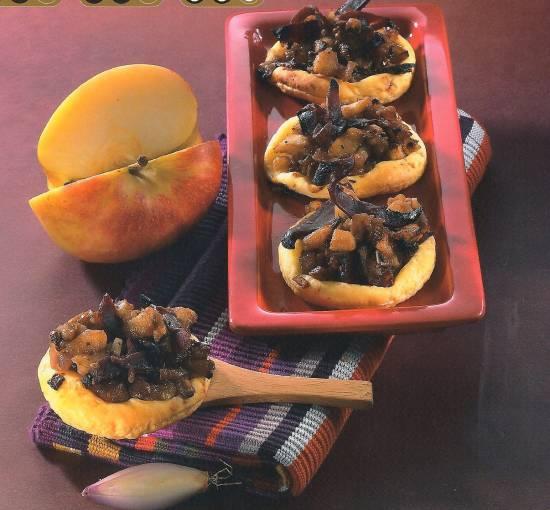 Taartjes met gerookte eendenborstfilet en appel recept