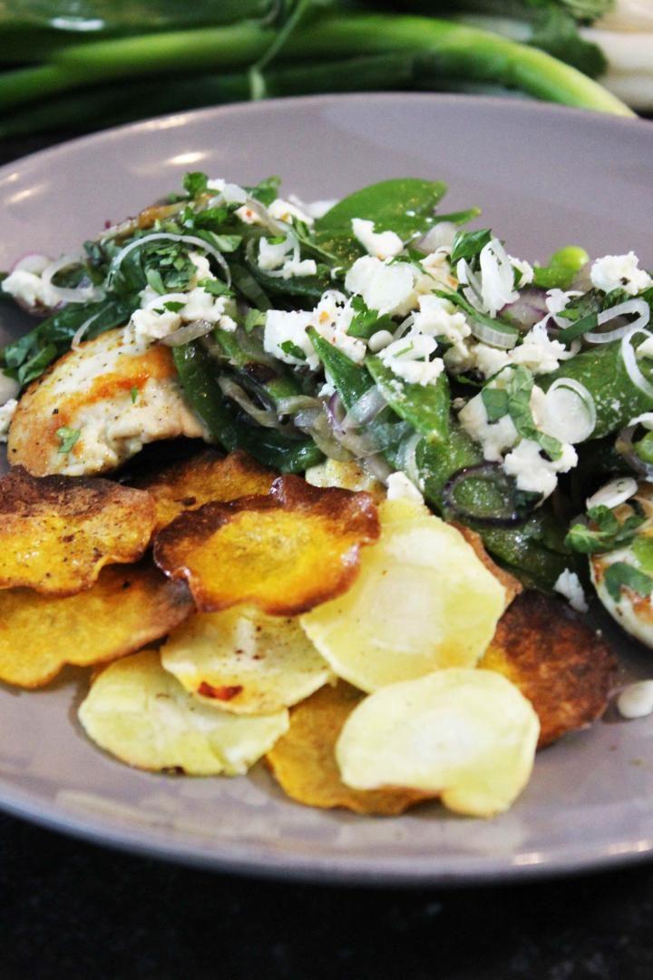 Recept 'salade met kip en sugersnaps'