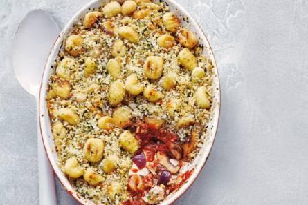 Ovengnocchi met tonijn, champignons en tomaat