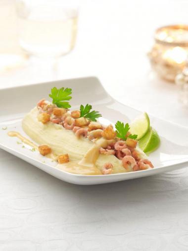 Recept 'aardappelmousseline met garnalen en een ...