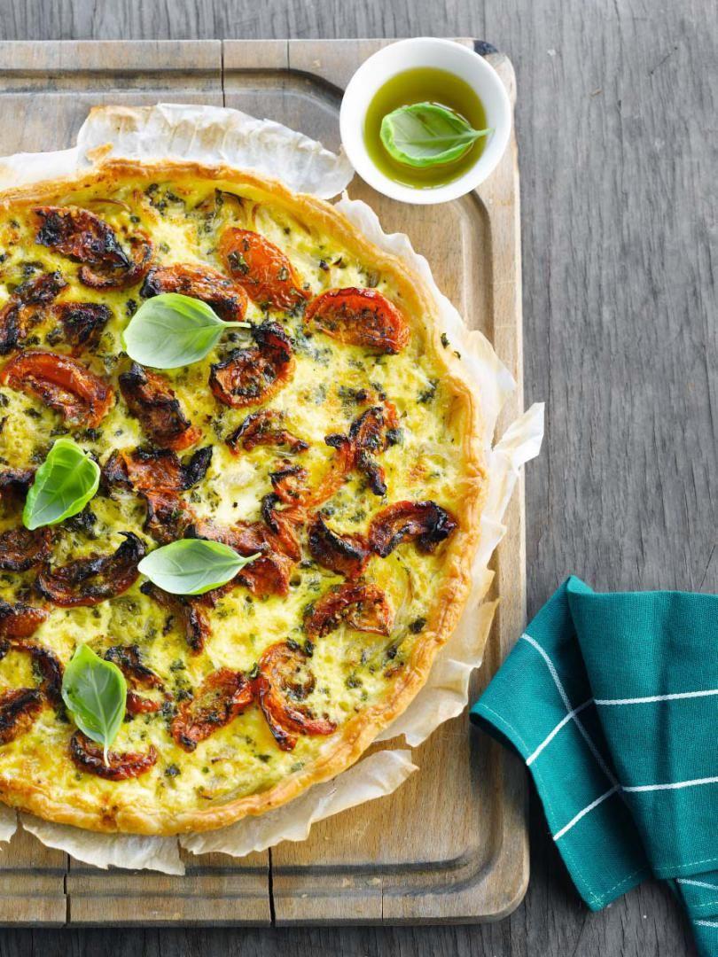 Recept 'quiche met zongedroogde tomaten en uien'