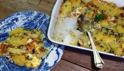 Mosselgratin met prei en aardappel recept