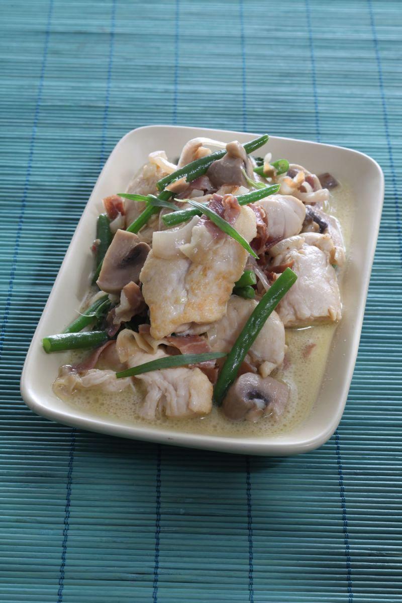 Recept 'gewokte kip met ham en boontjes'