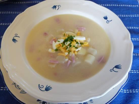 Romige aspergesoep met ei & ham recept