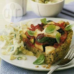 Pesto-rijsttaart met mozzarella recept