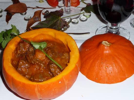 Pompoen met stoofvlees recept