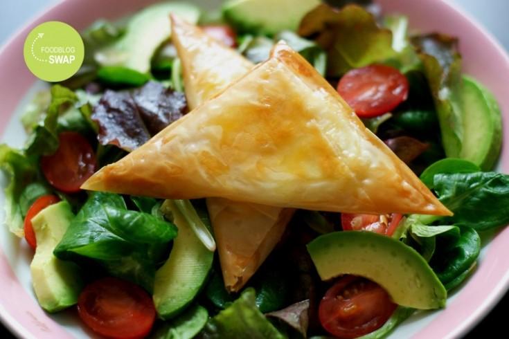 Salade met geitenkaas in filodeeg