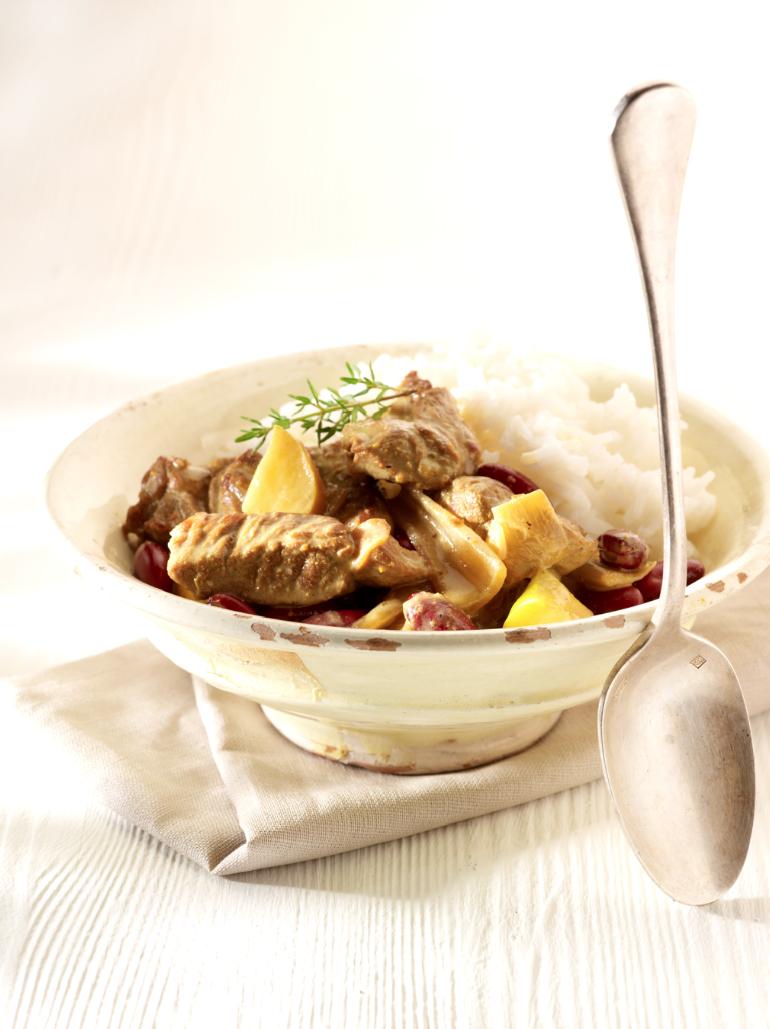 Recept 'lamsragout met curry en rijst'